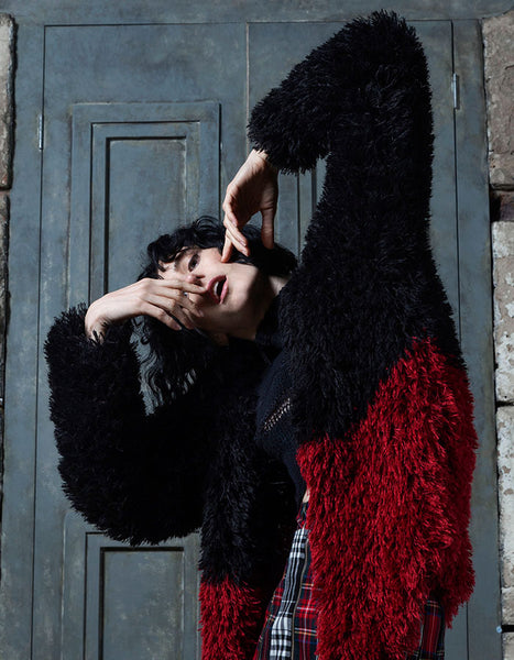 Black and red hand knitted Jacket.  A beautiful piece for the colder days - feeling cozy and fashionable at the same time.