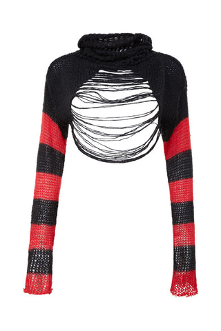 "This unqiue 100% organic cotton knitted cropped longsleeve knitted jumper is inspired by the eclipse of a so called a ""Blood Moon"" With its bold blocking of red and black it feels like a true statement piece."