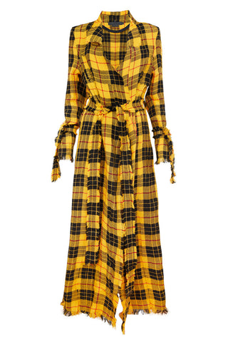 Full on tartan Trenchcoat with unique fringe details around belt. Stand out with the beautiful yellow/red vegan tartan material. The elongated length creates a beautiful shape to go with every outfit.