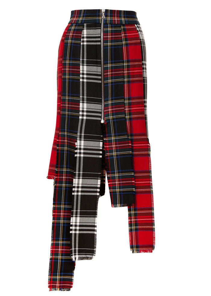 A modern vegan version of the punk revolution.  Using different colored tartan materials and clashing them together.