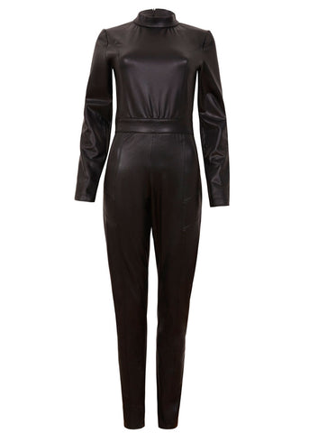 Classic black vegan catsuit for a sophisticated and strong look.