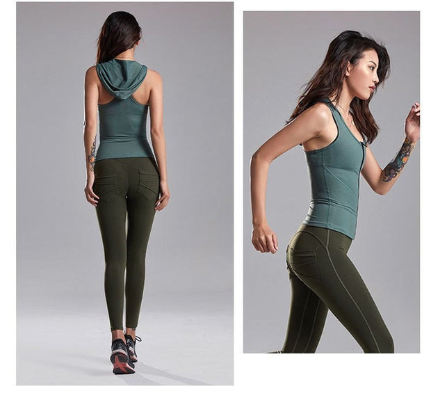 Buy Online Premium Quality and Stylish Premium Sleeveless Zip Up Hoodie for Women, Activewear for Women, Racer back Tank Top with hoodie, Sports Wear for Women, Bodyfit Tank Top - ShBang.co