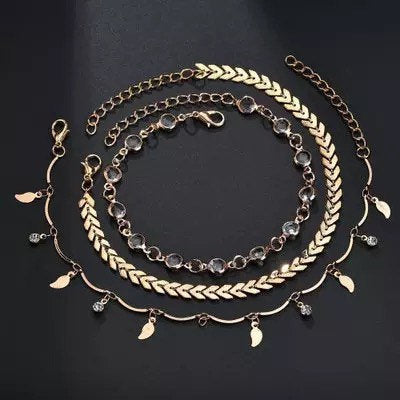 Buy Online Premium Quality and Stylish 3pc set Anklets for Women, Foot Accessories, Ankle Bracelet, Fashion Jewelry, Summer Jewelry, Gift for her, Designer Anklet - ShBang.co