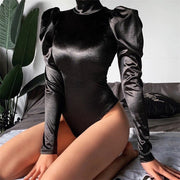 Buy Online Premium Quality and Stylish New Release Solid Black Turtleneck Longsleeve with back zipper Bodysuit - ShBang.co