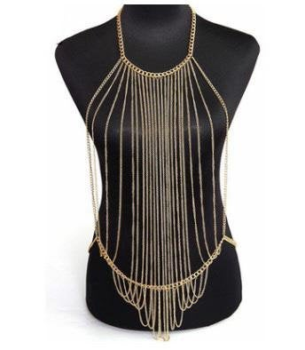 Buy Online Premium Quality and Stylish Gold Body Chain, Gold Fashion Jewelry, Gold Full Body Chain, Body Chain Necklace, Golden Body Chain, Designer Jewellery - ShBang.co