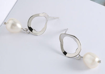 Buy Online Premium Quality and Stylish Natural White Pearl Drop Earrings, Sterling Silver Pearl Stud Earrings, Studs, Premium Quality Stud Earrings, Pearl Earrings - ShBang.co