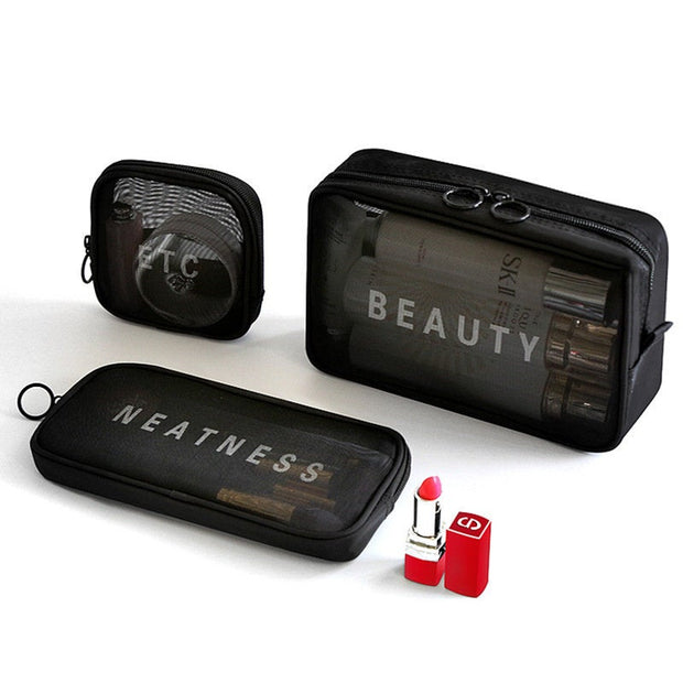 Buy Online Premium Quality and Stylish Black Set of 3 Square Travel Set With Zipper Utility Pouch, Travel Bag for Makeup, Toiletry Bag, Trendy Mesh Utility Bag, Travel Bag - ShBang.co