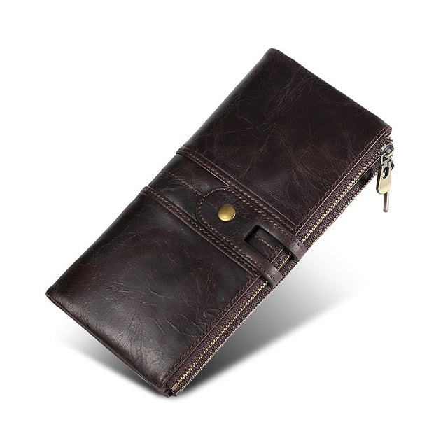 Buy Online Premium Quality and Stylish Genuine Black Leather Long Wallet, Black and Brown Leather Clutch Bag, Daily Carry Wallet, High-End Wallet, Valentines Gift, Gift for her - ShBang.co