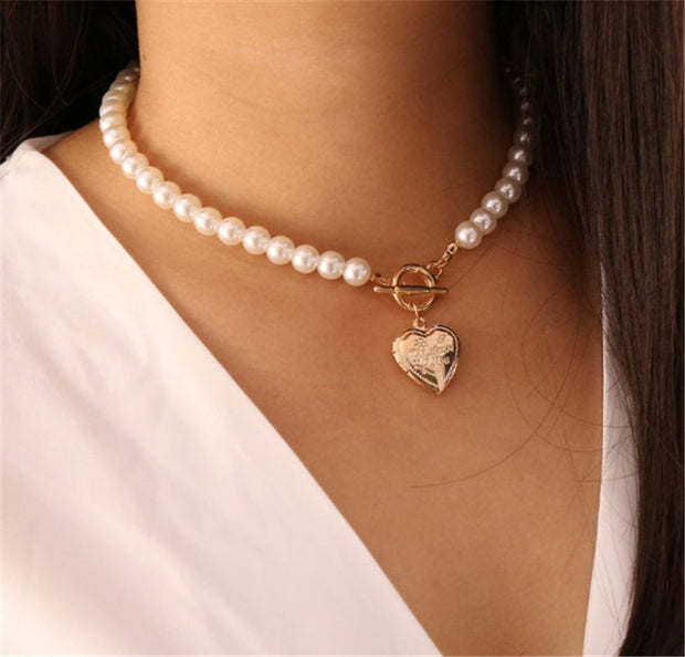 Buy Online Premium Quality and Stylish Pearl Necklace with Heart Pendant, Gold Heart Pendant Necklace, Bridal Necklace, Short Victorian Necklace, Valentine Gift, Gift for her - ShBang.co