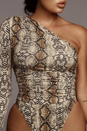 Buy Online Premium Quality and Stylish Premier Release Snake Skin Zipper Deep V Neck One Piece Sexy Bodysuit - ShBang.co