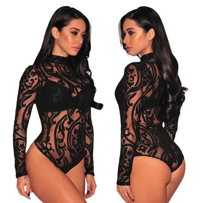 Buy Online Premium Quality and Stylish Premier Release Black Sheer Long Sleeves Mesh Geometric Velvet Women Sexy Bodysuit - ShBang.co