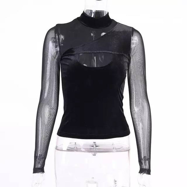 Buy Online Premium Quality and Stylish High End Fashionable Sexy Mesh Long Sleeve with Velvet Feel Top T-shirt Sexy New Trend - ShBang.co