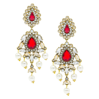 Buy Online Premium Quality and Stylish Luxurious Red statement earrings with Rhinestone Pearls - ShBang.co