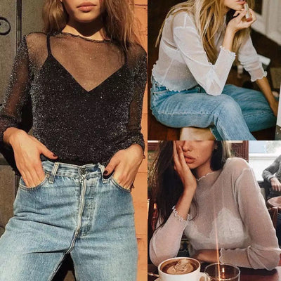 Buy Online Premium Quality and Stylish New Release Transparent Sexy Mesh Long Sleeve Top Bling Solid Casual Slim Thin T-Shirt Ladies Fashion - ShBang.co