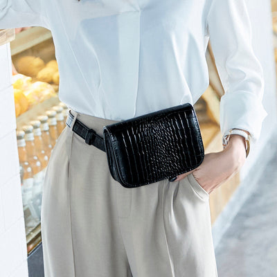 Buy Online Premium Quality and Stylish Extraordinary Fine Workmanship Ladies Stylish Waist Belt Bag Leisure Simple Crocodile Pattern Women Waist Bag - ShBang.co