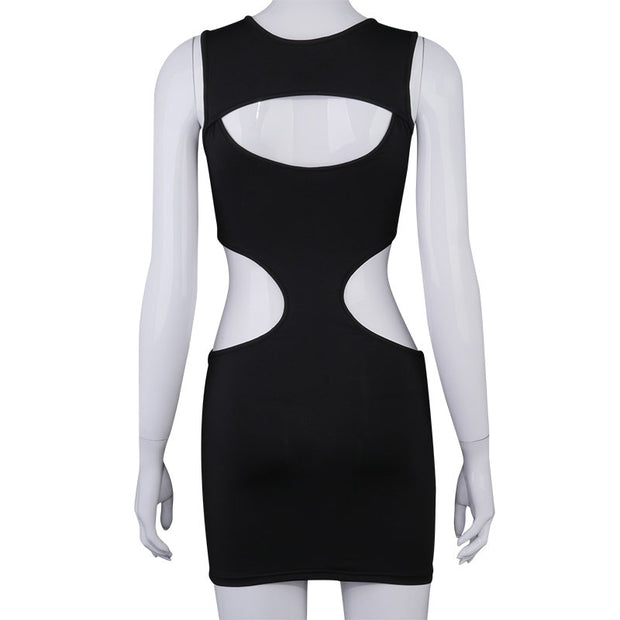 Buy Online Premium Quality and Stylish New Premium - Solid colour Hollow Dress Fashion Sexy  Multi Hollow Sleeveless Dress designer fashion mini dress - ShBang.co