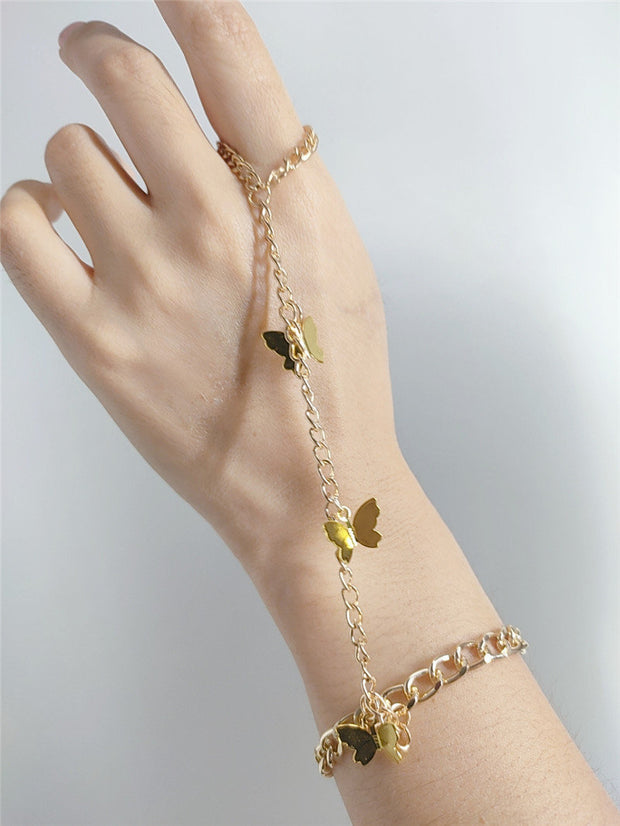 Buy Online Premium Quality and Stylish BRACELETS - Trendy Metal Little Butterfly Pendant Set Finger Gold Bracelets - Jewellery - Ring - Bracelets - Gold Bracelet - Jewelery - ShBang.co