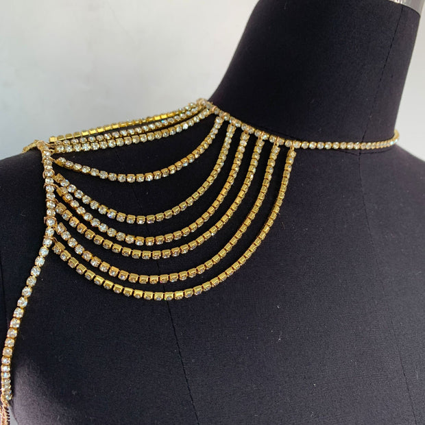 Flash Diamond Rhinestone Collarbone Chain - Bridal wedding accessory necklace multi-layer neck chain - Body Jewellery - Crystal  Neckless SHBANG.CO
