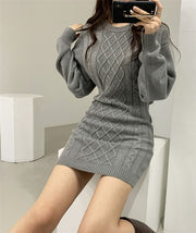 Buy Online Premium Quality and Stylish Elastic Twist Knitted Hollow Out Waist Sweater Dress - ShBang.co
