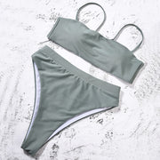 Buy Online Premium Quality and Stylish Sexy Solid Push Up Padded Bra Straps High Waist Swimsuit - ShBang.co