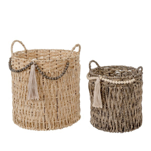 BOHEMIAN BASKET, WITH BEADS/TASSEL, LARGE