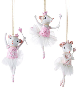 Dancing Mouse Ornament, 3 Asst.