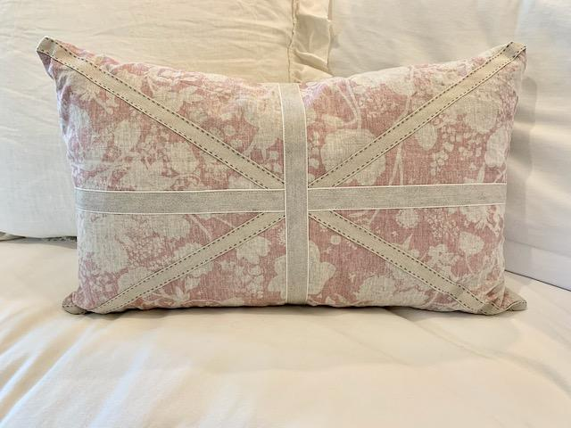 Pink floral Union Jack throw pillow