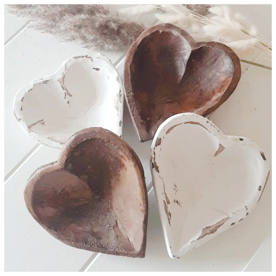 Hand Carved Wooden Heart Dough Bowl