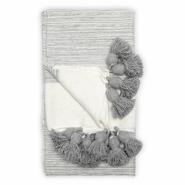 Moroccan Pom Pom Blanket - Throw - Mixed Light Grey