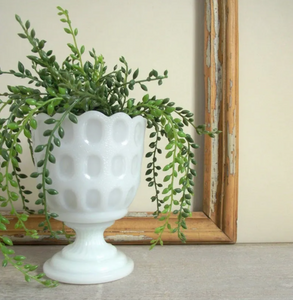 Thumbprint Milk Glass Planter Pot , Pedestal Vase by E.O. Brody M4200