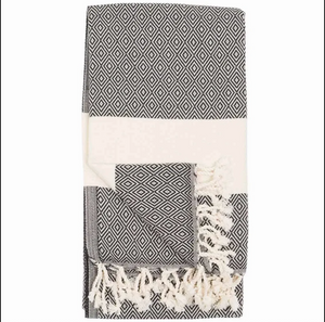 Turkish Towel/Throw, Carbon TTD5