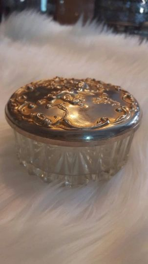 Vintage Powder Dish with Mirrored Lid