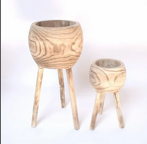 Wooden planter on legs brown