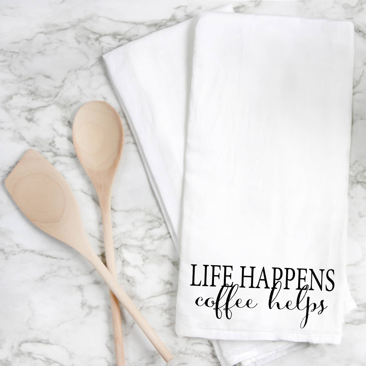 Life Happens Coffee Helps Tea Towel