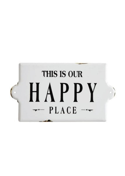 Our Happy Place Enameled Wall Sign