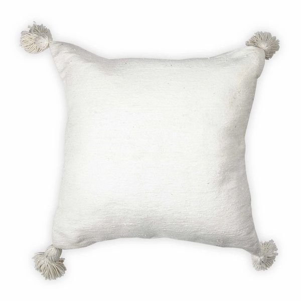 Moroccan Pom Pom Pillow - White with White Pom