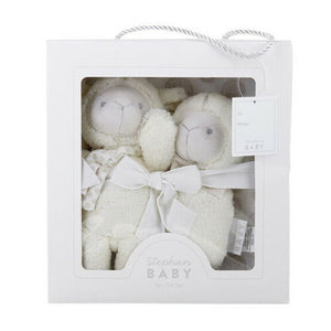 Baby Blanket Lamb Soft Toy and Soft Rattle 3 Piece Gift Set