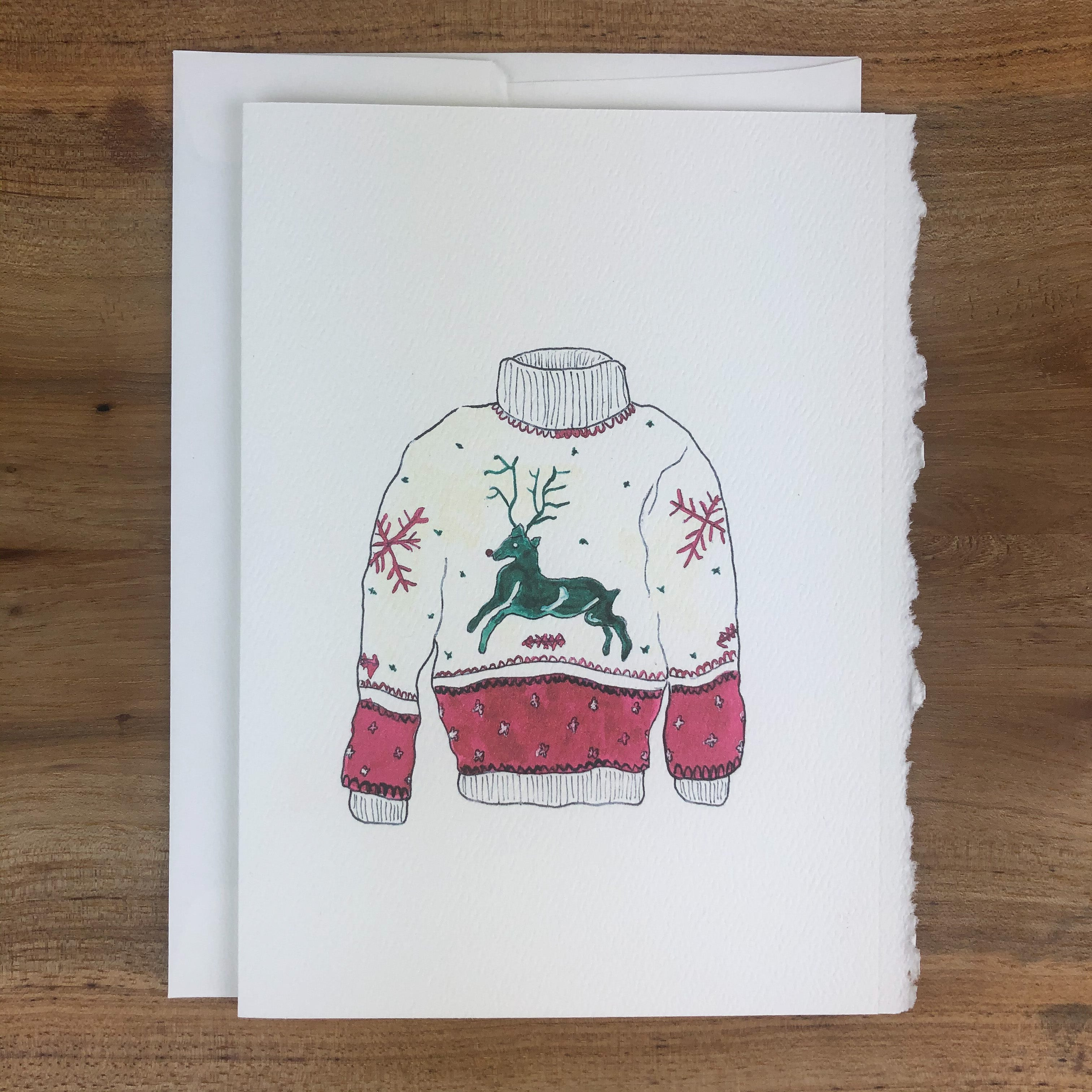 card, reindeer sweater