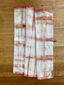 naturally dyed cotton flour sack towel, madder root