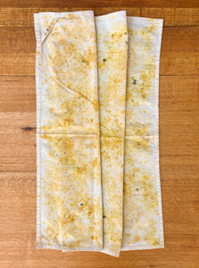 naturally dyed cotton flour sack towel, onion skins