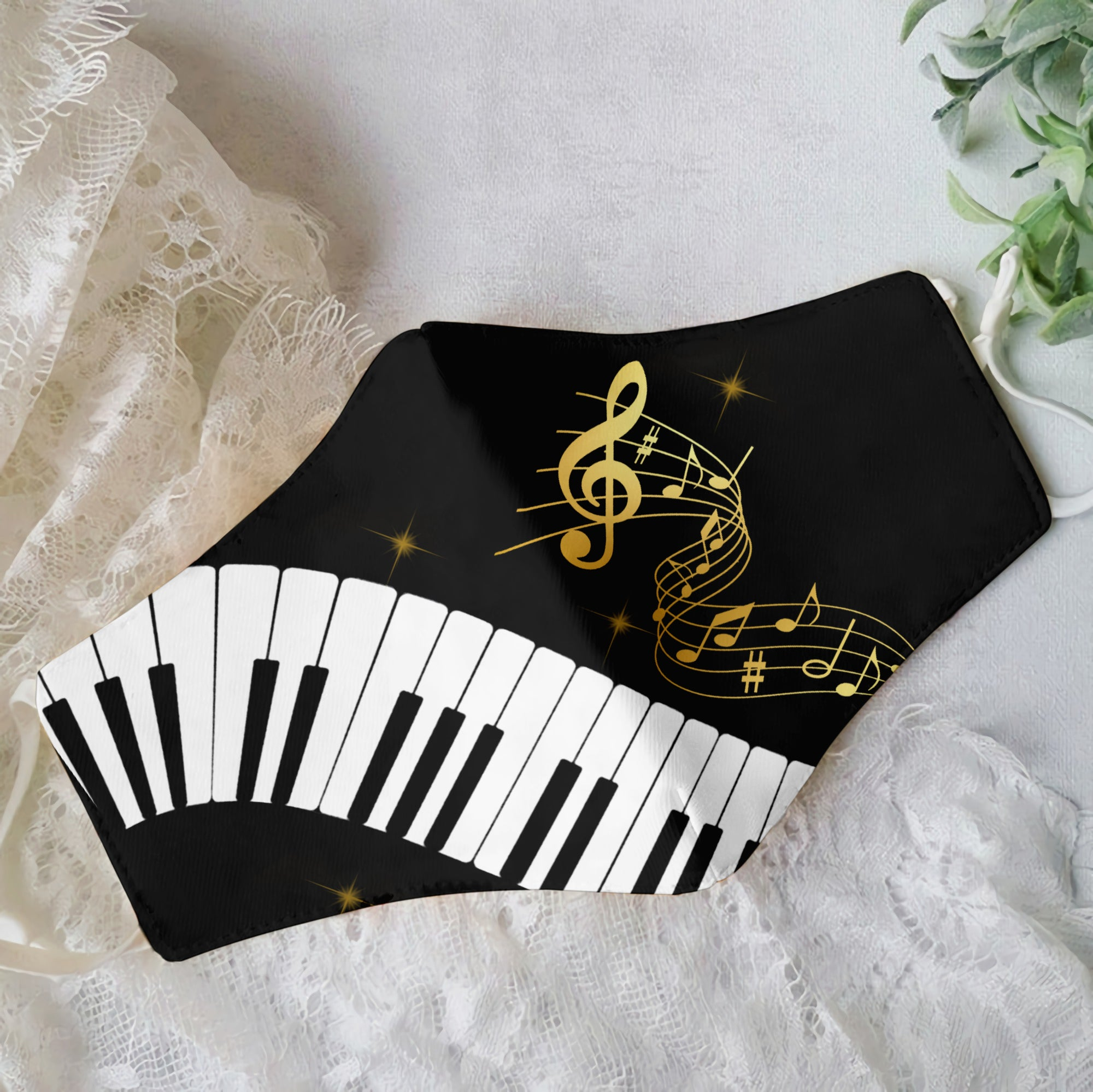 Premium Gold Music Notes 01 EZ09 1906 Face Mask - Hyperfavor