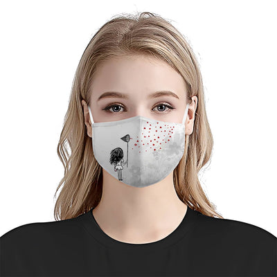 A Girl With Scoop-net And Heart EZ17 0306 Face Mask - Hyperfavor