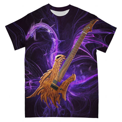 Abstract Dragon Guitar Purple Version EZ10 2303 All Over T-Shirt - Hyperfavor