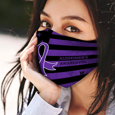 Alzheimer's Awareness Ribbon American Flag Black EZ03 1804 Face Mask - Hyperfavor