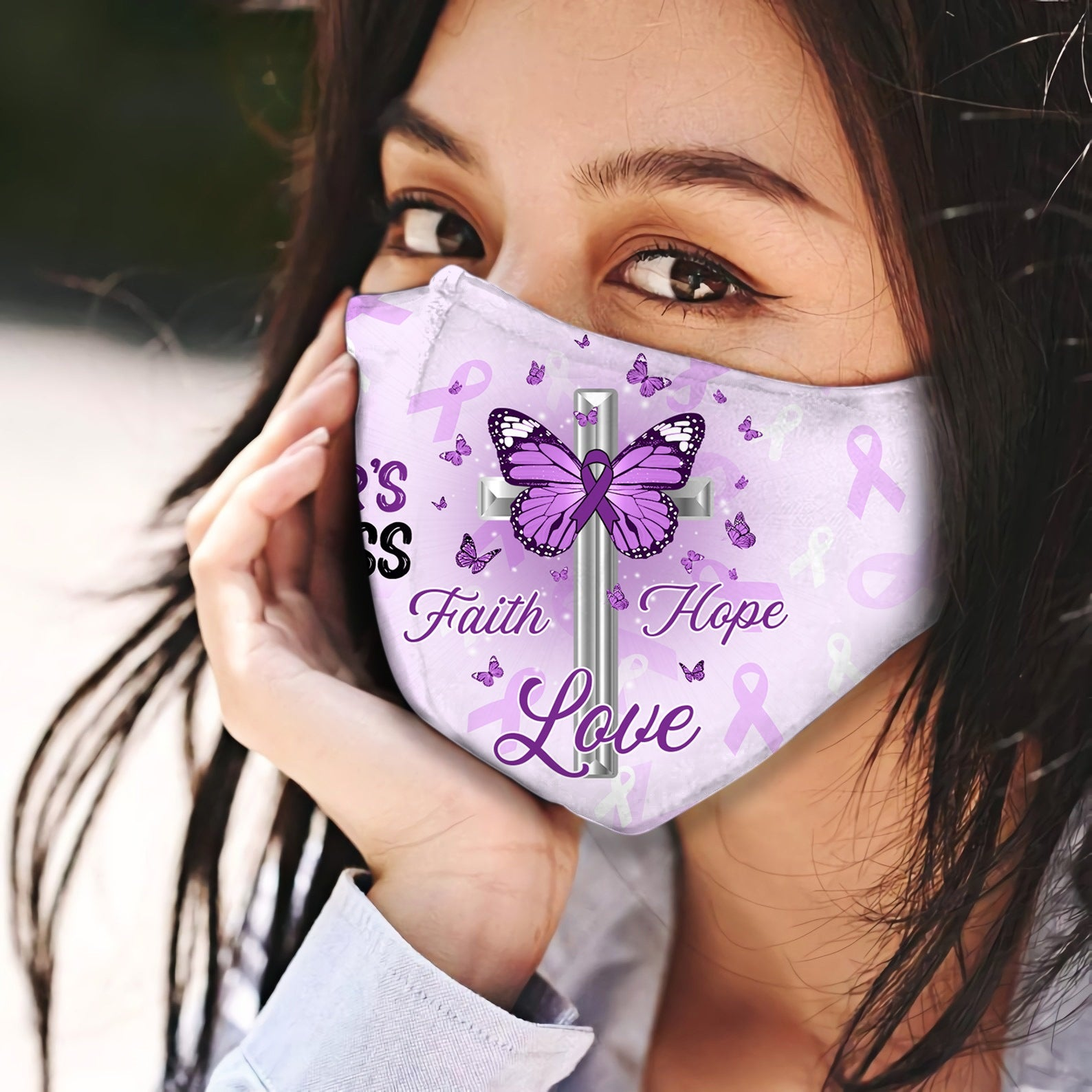 Alzheimer's Awareness Jesus Pray Faith Hope Love EZ06 0305 Face Mask - Hyperfavor