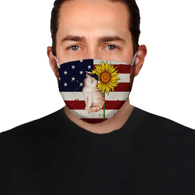 Premium American Flag Cat Version 01 EZ09 1505 Face Mask - Hyperfavor