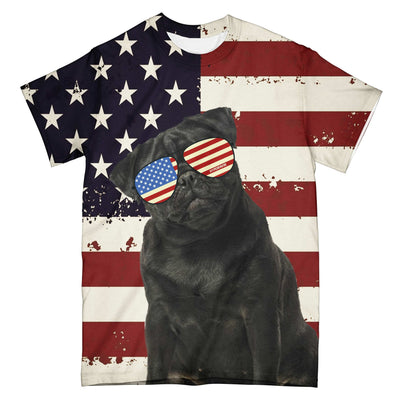 American Flag Pug Fun Ez03 2603 All Over T-Shirt - Hyperfavor