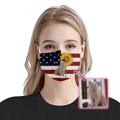 Premium Animal Cat American Flag EZ09 1805 Custom Face Mask - Hyperfavor