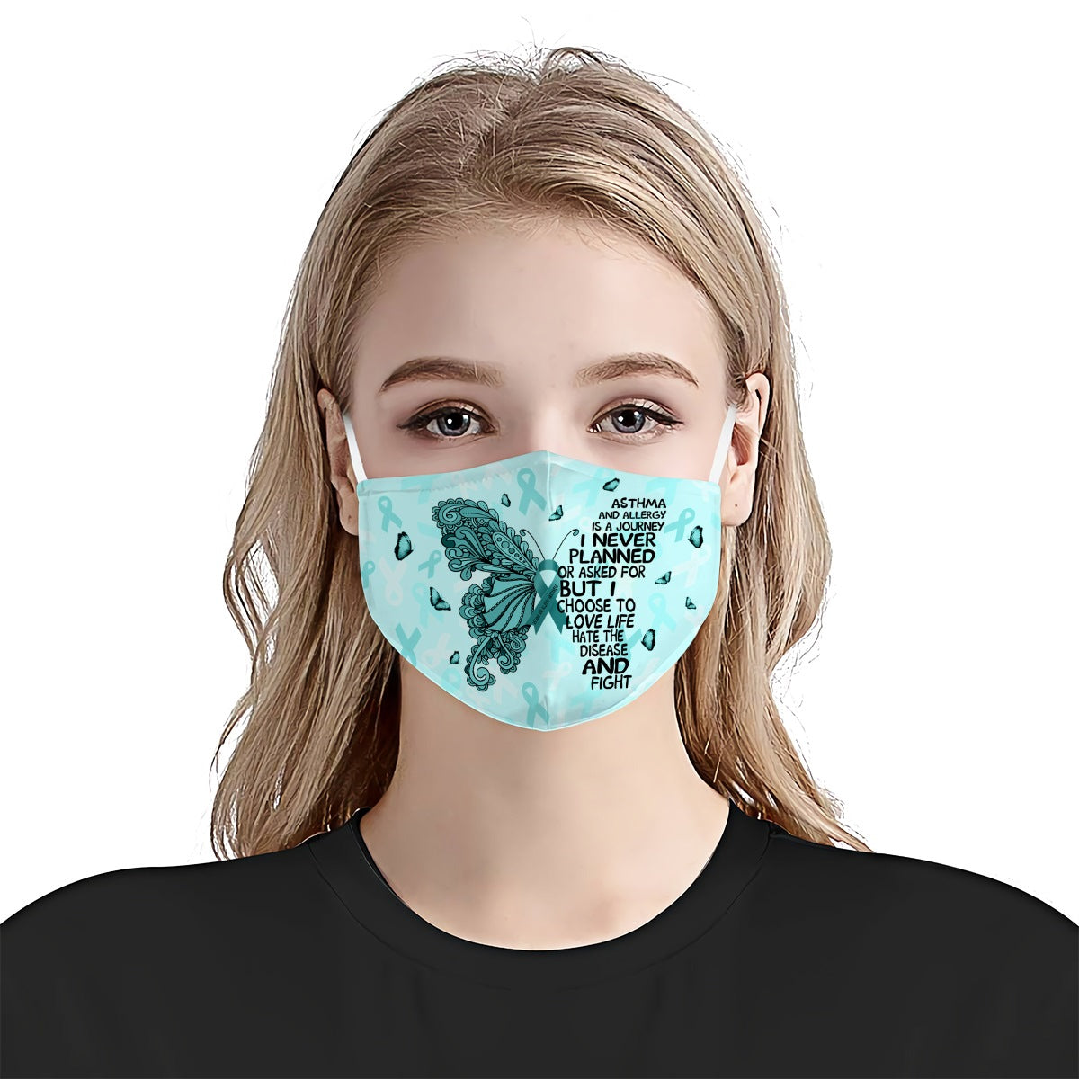 Asthma And Allergy Awareness Butterfly Journey EZ01 0705 Face Mask - Hyperfavor