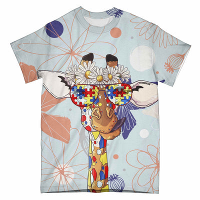 Autism Giraffe Dare To Be Different EZ06 0104 All Over T-Shirt - Hyperfavor